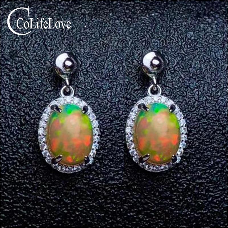 Brilliant opal drop earrings for wedding 7 mm * 9 mm natural fire opal earrings 925 sterling silver opal jewelry for woman pair of sweet faux opal embellished kitten earrings for women