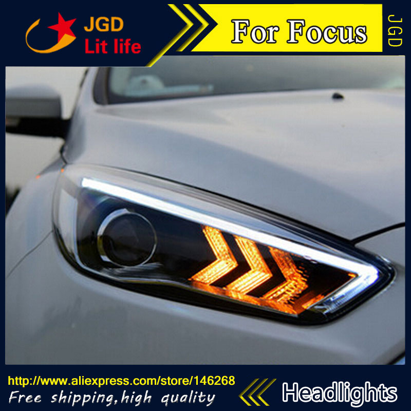 Free shipping ! Car styling LED HID Rio LED headlights Head Lamp case for Ford Focus 2015 Bi-Xenon Lens low beam iwhd loft retro led pendant lights industrial vintage iron hanging lamp stair bar light fixture home lighting hanglamp lustre