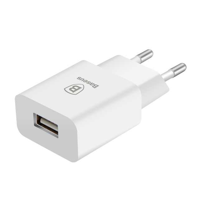 White EU Plug with USB Port