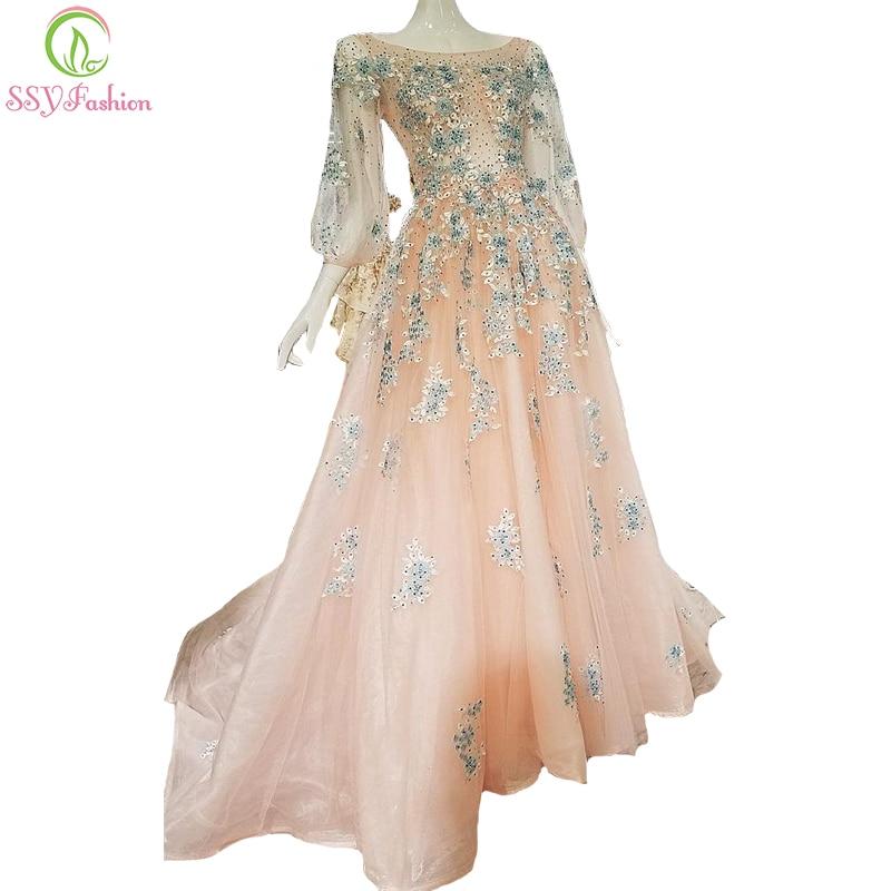 Ssyfashion Long Sleeve Wedding Dresses The Bride Elegant: SSYFashion High End Luxury Evening Dress The Bride Banquet