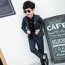 Costume Cotton Baby Boys Blazers Suits New Single Breasted Jacket Pant 2pcs Suit Boy Formal Wedding Wear Children Clothing
