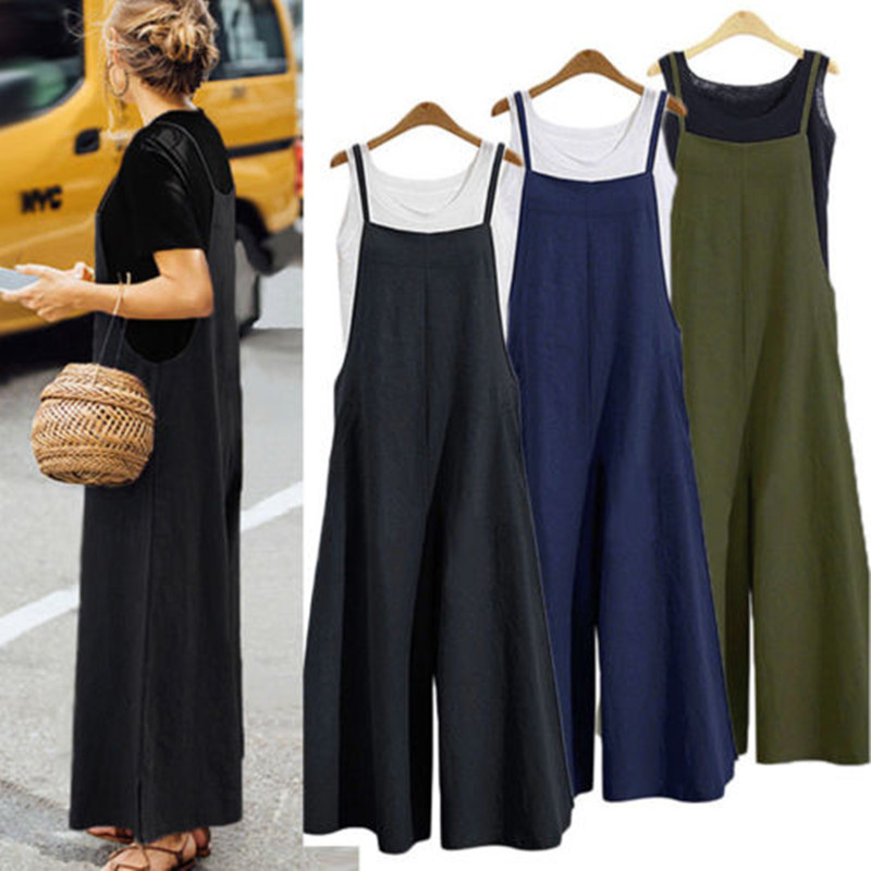 Fashion Women Casual Cotton Overalls Summer Sleeveless Jumpsuit Strap Rompers Dungaree Oversized Wide Leg Trousers ( No Tops )