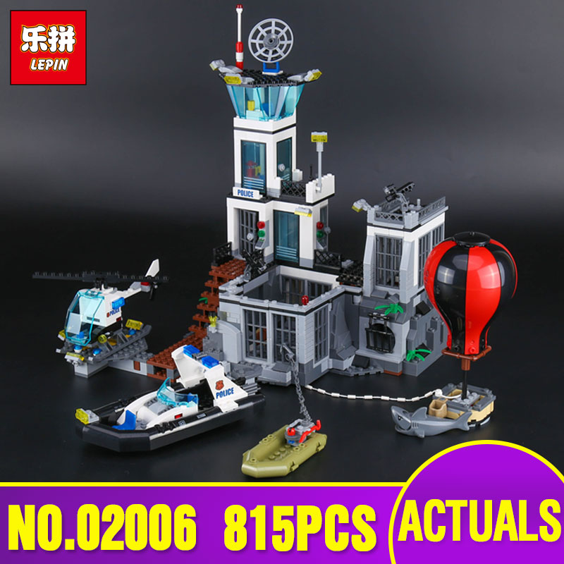 Lepin 02006 Genuine City Series The Prison Island Set Building Blocks Bricks Educational legoing 60130 Toys For Kid`s Gifts lepin 02006 815pcs city series police sea prison island model building blocks bricks toys for children gift 60130