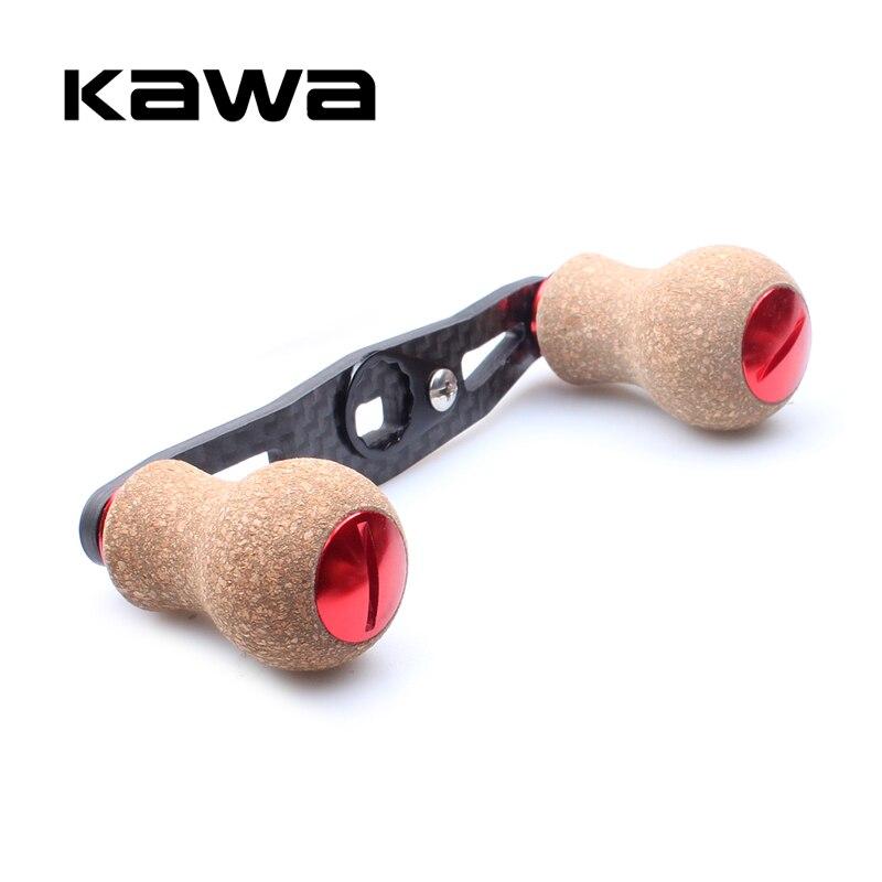 KAWA New Fishing Reel Handle Carbon Fiber For Shimano Daiwa Abu Baitcasting With Cork Knob Hole Size 7*4/8*5mm Length 90mm