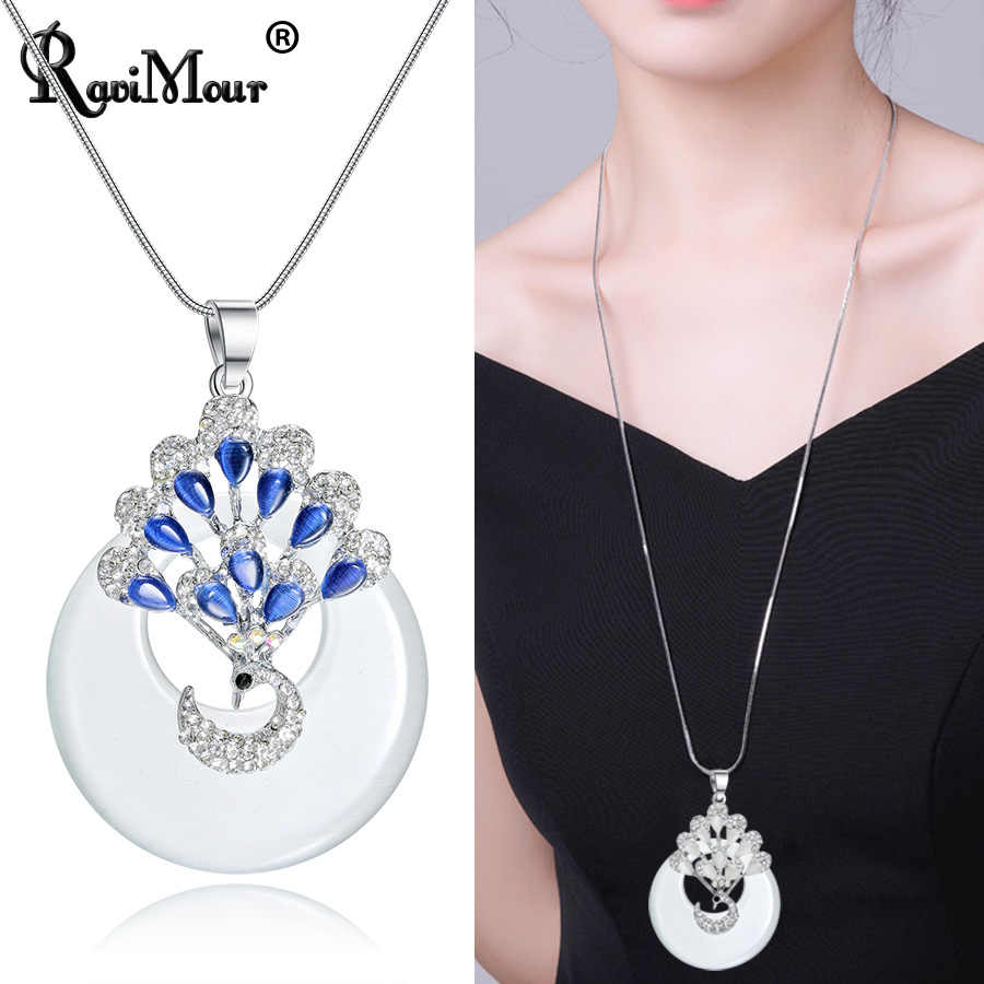 Statement Choker Necklace Women Round Big Opal Stone Blue White Animal Peacock Long Pendant Necklace Jewelry Fashion Accessories