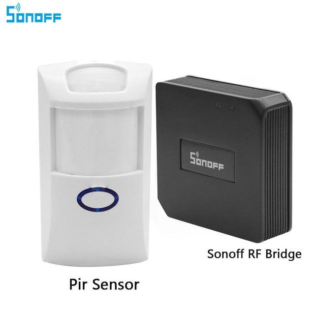Sonoff RF Bridge 433 convertidor de señal Wifi inalámbrico Sensor PIR para la automatización inteligente del hogar compatible con el mando a distancia IOS Android