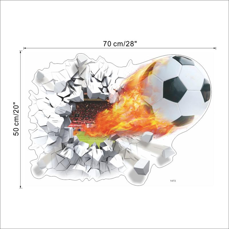 Vliegende voetbal through muurstickers kinderkamer decoratie diy thuis decals voetbal funs gift 3d muurschilderingen sport game poster 1487 3