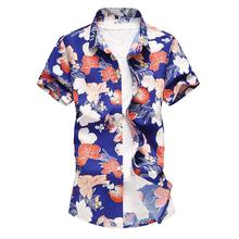 Flower Mens Dress Shirts Short sleeve Floral Men's Shirt Short sleeve Blouse Men Black Blue