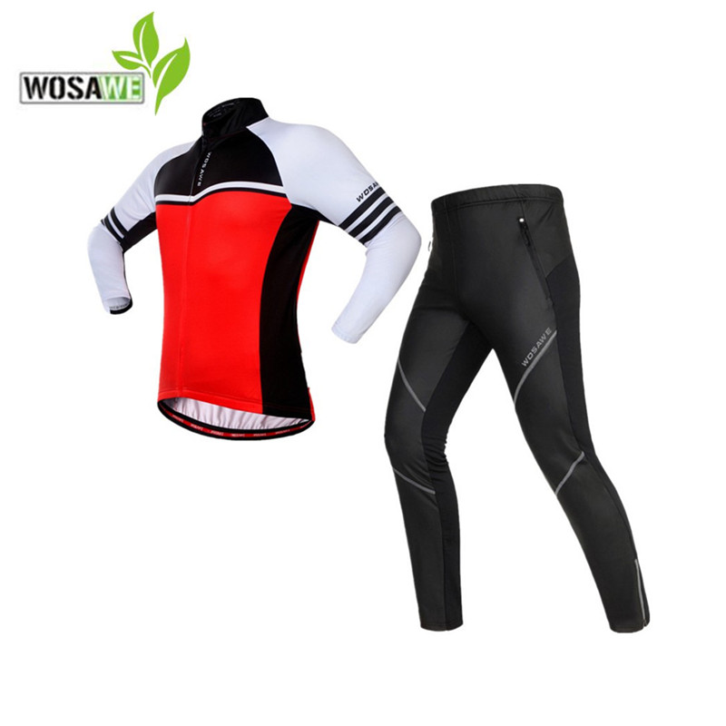 WOSAWE autumn cycling jerseys set ropa ciclismo thermal fleece PU pants windproof ciclismo bike bicycle clothes riding suits