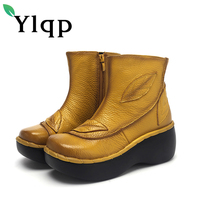 Ylqp Ladies Genuine Leather National Wind Women Boots Waterproof Platform Slope Women's Shoes Flower Middle Aged Mother's Shoes