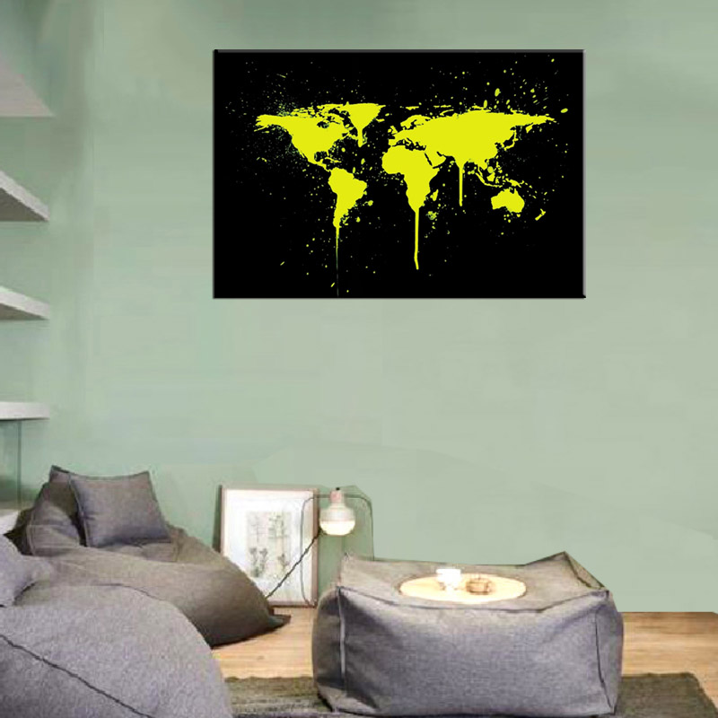 1 pcsset abstract yellow world maps canvas prints painting huge 1 pcsset abstract yellow world maps canvas prints painting huge picture golden world map in black wall art for officeroom decor in painting calligraphy gumiabroncs Gallery