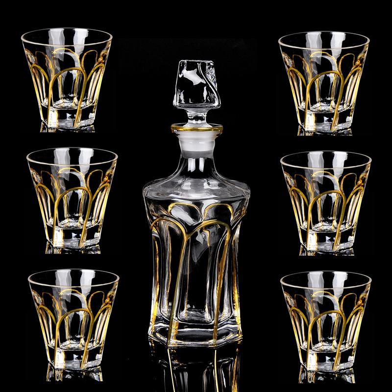 Image 3 - High quality crystal glass wine cup gold whiskey glass cup creative red wine glass brandy cup set barwarer Household drinkwareBar Sets   -