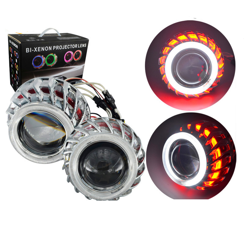 Tcart F2 Circular /Round Double Angel Eyes bi -xenon hid conversion kit Projector Lens Light For Auto Headlights