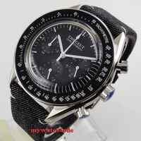 new arrive Top Brand Luxury 40mm corgeut black dial steel 24 hours quartz full chronograph mens watch C176