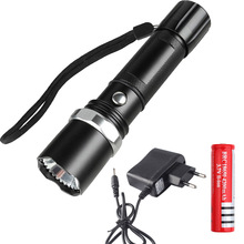 Rechargeable Led Flashlight CREE XML L2 Tactical Torch Portable 5 mode Zoomable Lamp Waterproof lanterna +18650 battery charger