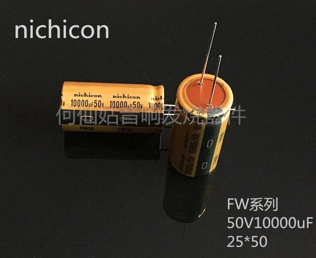 5pcs/10pcs NICHICON audio capacitor 50v 10000uf FW 25*50 audio super capacitor electrolytic capacitors free shipping