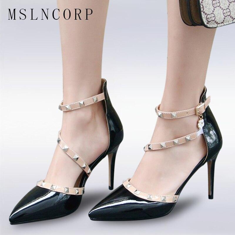 56e544bd Verano Puntiagudos Moda Sandalias Tacones Zapatos Mujeres Altos BodaAs  Photo De Bombas Photo Mujer Sexy as Talla Remaches ...