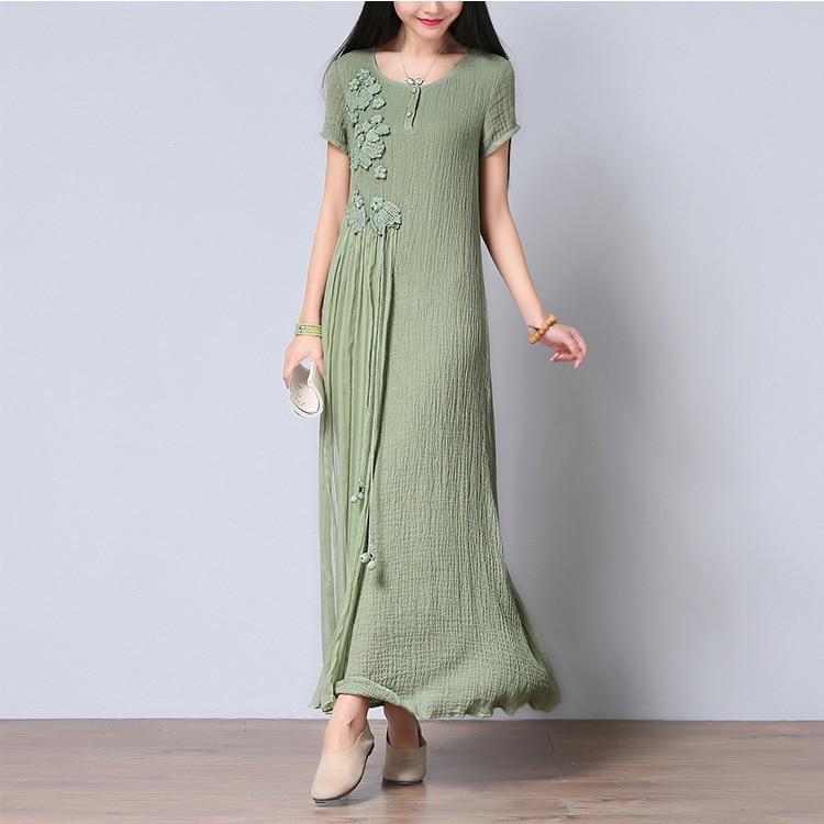 Vintage Fleur Robes Crochet Festa Robe Lin Femmes Longue De Patchwork Maxi Cd135 blanc D'été Soie Vert Coton Casual Patch q6EHEd