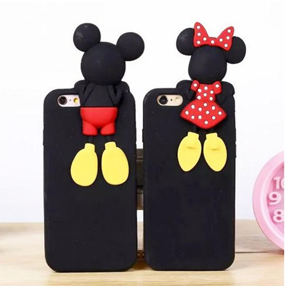 2 Painted Patterns Mickey Mouse Minnie Duck Soft Silicone Rubber Cover Case For iPhone5S/6/6S/6 PLUS/6S PLUS EC977/EC978/EC979
