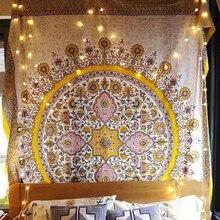 Tapiz de medallón Floral para decoración de hogar, cabecero indio dorado, para colgar en la pared, tapiz de Mandala, decoración colgante de pared de macramé Celestial