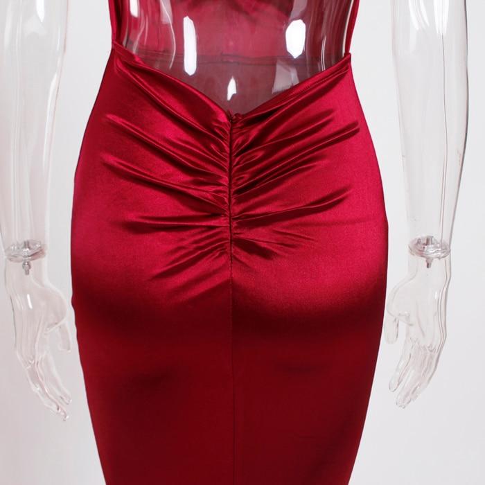 Deep V-Neck Burgundy Satin Mermaid Open Back Long Evening Dress 30