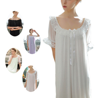 UNLIMON Womens Nighties 100 Cotton Palace Retro Nightdress Ladies Vintage Nightgown White Pink Princess Home Dress