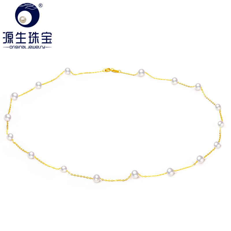 YS 5-5.5mm 17 Pieces White Freshwater Pearl 18K Solid Gold Chain Necklace Fine Jewelry 1000pcs 0402 18k 18k ohm 5