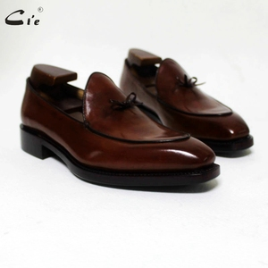 Image 5 - cie square toe bow tie brown boat  shoe hand painted calf leather men shoe handmade can change color breathable mens loafer 171