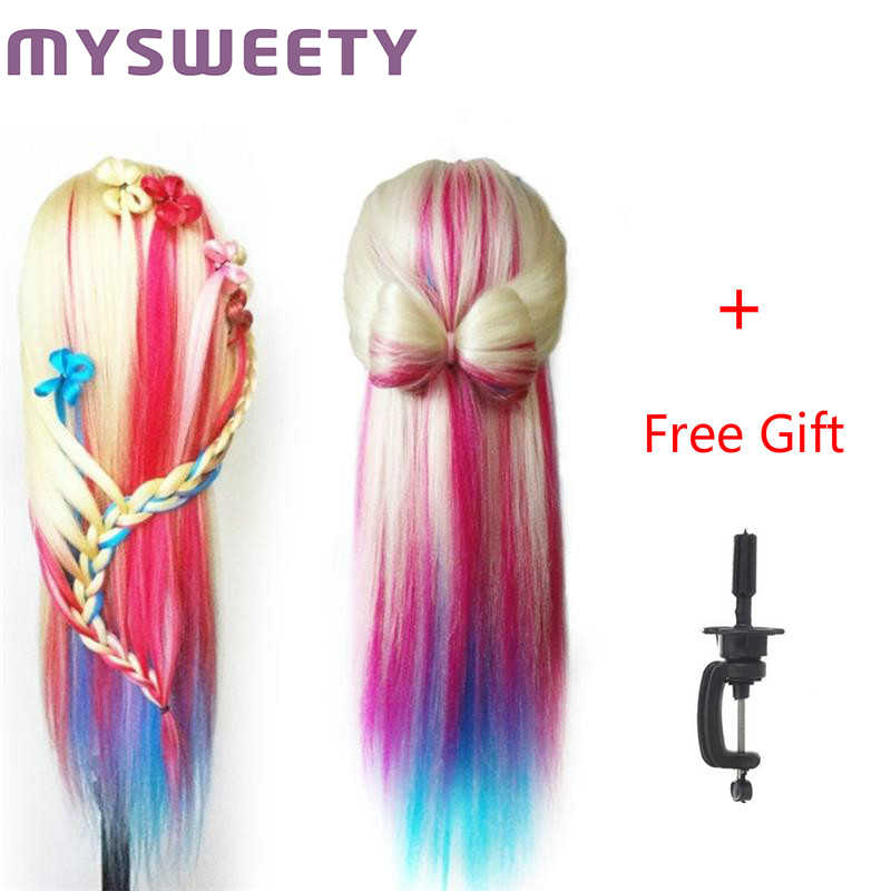 "29"" 100% High Temperature Fiber Long Hair Hairdressing Training Head Model with Clamp Stand Practice Salon Mannequin Head"