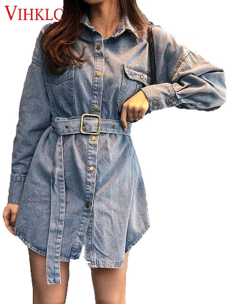 Skillful Knitting And Elegant Design Helpful Women Shirts Casual V Neck Blouse Denim Top Ladies Tunic Long Sleeve Shirt With Belt Summer Long Tops Fashion Plus Size C725 To Be Renowned Both At Home And Abroad For Exquisite Workmanship Women's Clothing