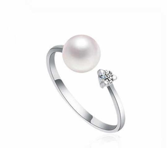 Регулируемые кольца из пресноводного жемчуга 7-8 мм Горячие Недорогие ювелирные украшения Модные кольца для пальцев Горячие для женщин