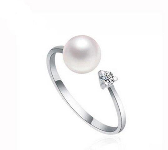 Anneau de perle d'eau douce réglable 7-8mm chaud pas cher bijoux mode anneau de doigt chaud pour les femmes