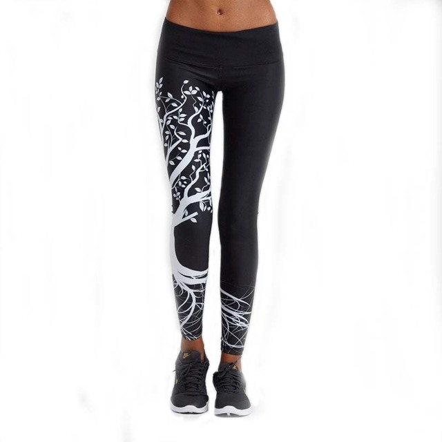 New Gradient Print Quick Dry Sporting Leggings Women 2016 Fashion Casual Compression Pants Tree Printing Legging Leggins