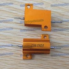 50pcs/lot 25W Golden Aluminium Resistor 15R 15 ohm Gold Aluminium Shell Resistance