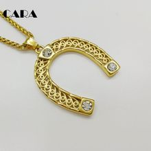 New arrival Gold/silver color Stainless steel cz stones horseshoe pendant necklace U-shaped charm necklace jewelry CARA0484 цена
