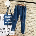 Cartoon Embroidery Women Ripped Jeans Denim Trousers Casual Plus Size 3 4 5 XL Slim Elastic Waist Pencil Jeans Blue TY088