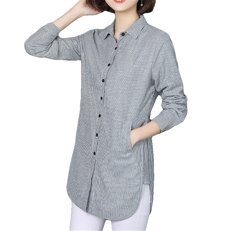 VogorSean Womens Striped Blouses Shirt Casual Loose Style Shirt Plus Size Spring Autumn Long Sleeve Office Ladies Clothing Tops