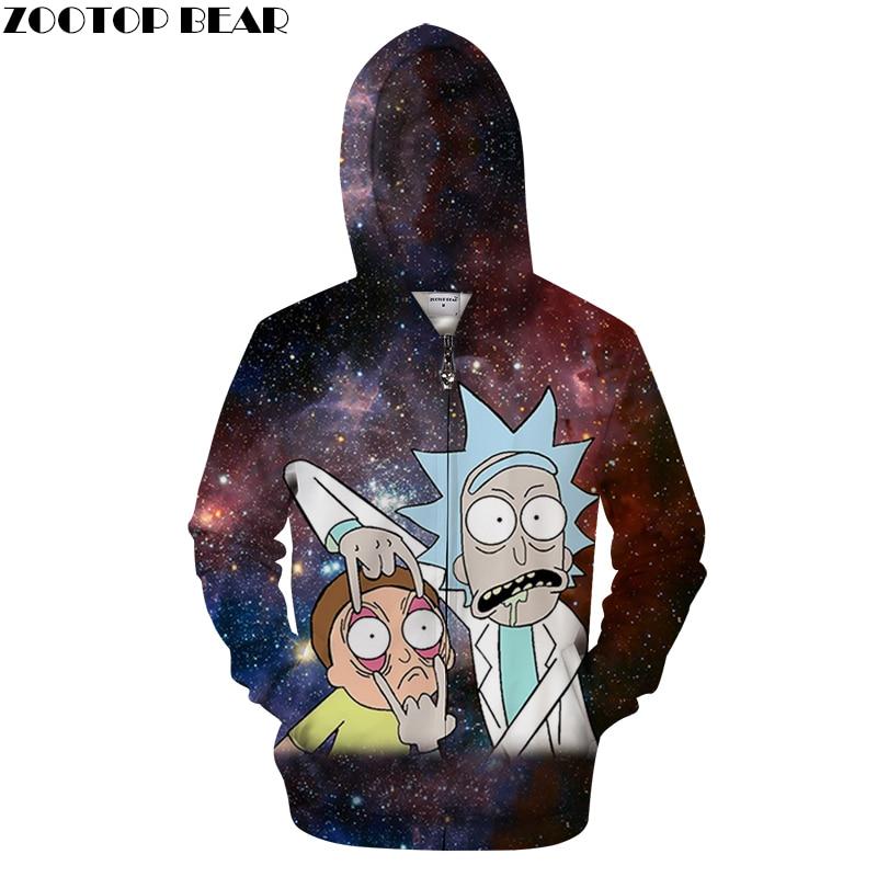 Galaxy Zip Hoody Rick and Morty Printed Hoodies 3D Zipper Tracksuits Men Sweatshirt Cartoon Hoodie Pullover DropShip ZOOTOPBEAR