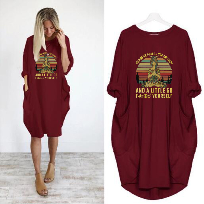 US $8.47 47% OFF|Im Mostly Peace Love and Light Shirt Hippie Tattoo New  Loose Pockets Dresses Plus Size Women Long Sleeve Harajuku Midi Dress-in ...