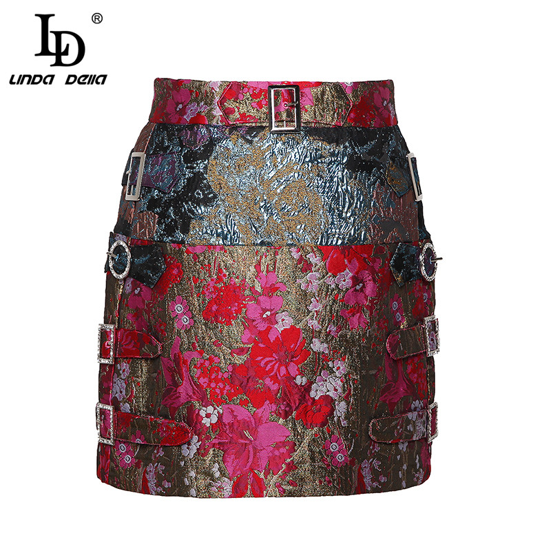 LD LINDA DELLA New Fashion Designer Summer Pencil Skirts Women Vintage Printed Mini Short Skirts High
