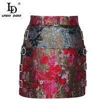 リンダデラ新ファッションデザイナー夏鉛筆のスカートの女性ヴィンテージプリントミニショートスカート高品質 LD