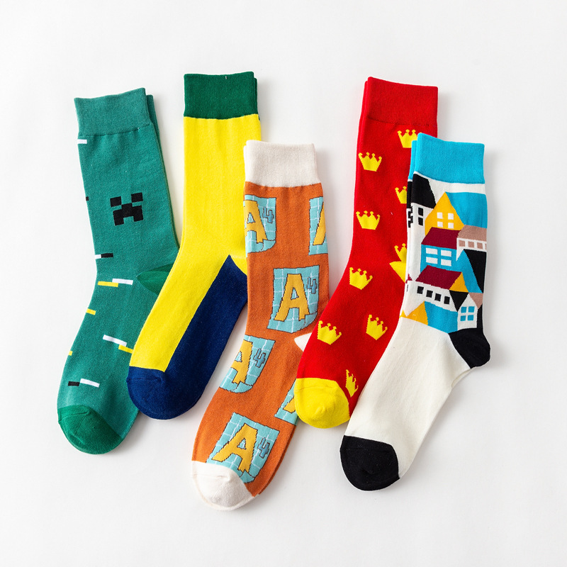 5 Pairs/set Funny Hip Hop Combed Cotton Socks Novelty Colorful Printed Socks Fashion Street Style Crew Socks Gifts For Men Women