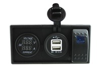 DC12V 24V Current Voltmeter And 3 1A Dual USB Socket With Rocker Switch Holder Housing