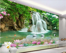 beibehang Eye-catching personality large silky 3d wallpaper stereo landscape waterfall 3D TV background wall papers home decor