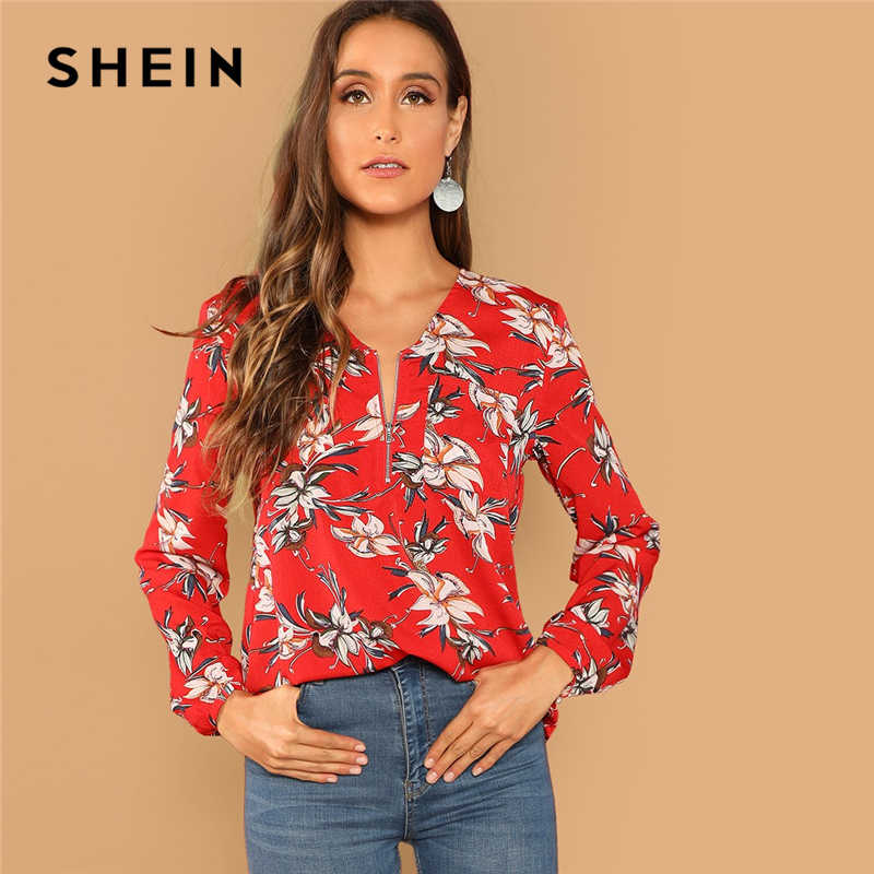 01ac131a5fb57 SHEIN Red Casual Floral Print Pocket Zip Half Placket V Neck Long Sleeve  Blouse Autumn Vacation