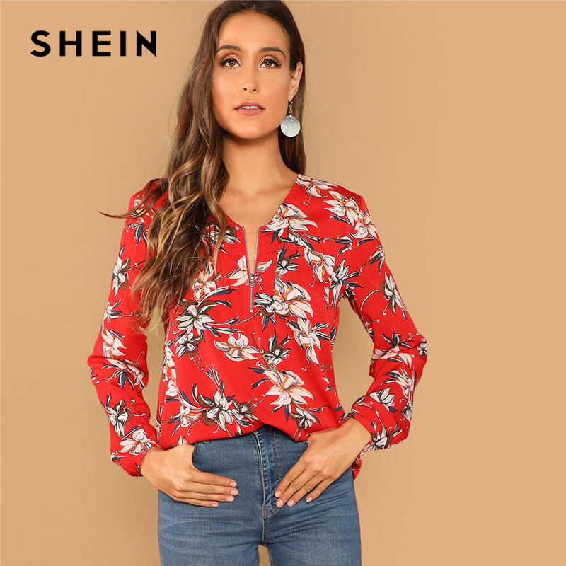 SHEIN Red Casual Floral Print Pocket Zip Half Placket V Neck Long Sleeve Blouse Autumn Vacation Holiday Women Tops And Blouses