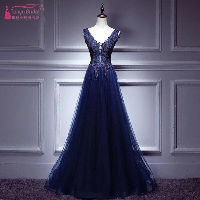Robe de soirée bleu marine 2018 col en V dos nu dentelle Appliques formelle robe de bal longueur de plancher robes d'événement DQG269