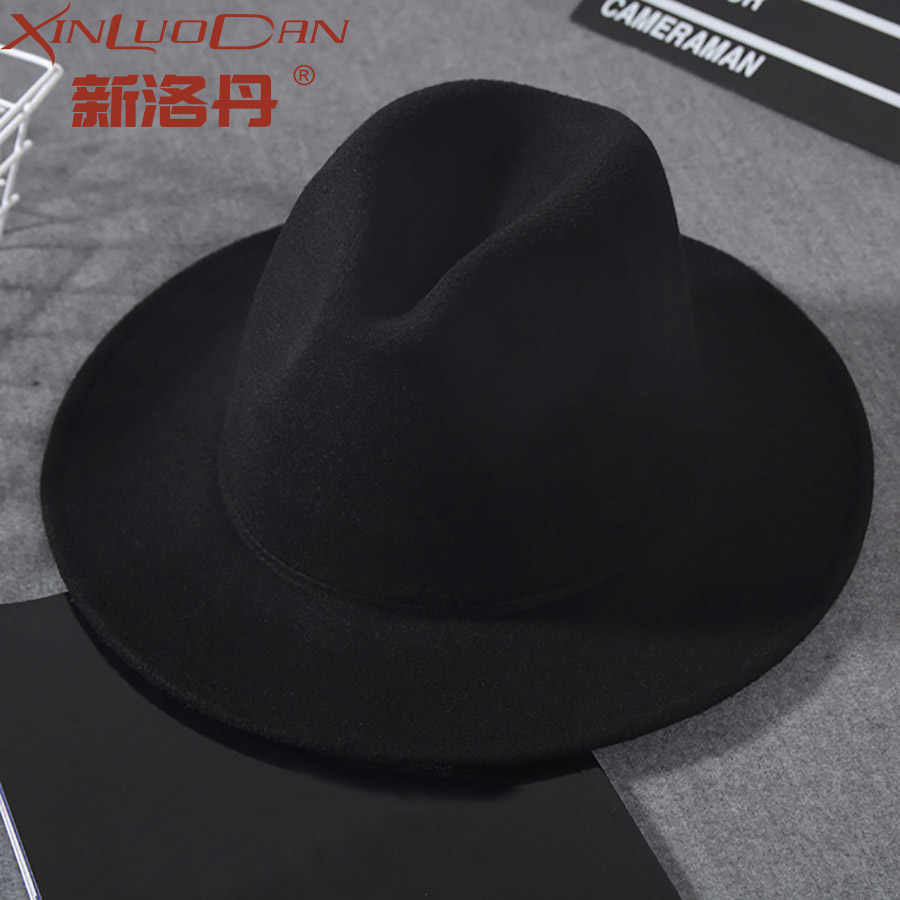 Wool Wide Brim Fedora Pure Felt Bowler Hat Dome Bucket Hat For Women  British Style Feminino 7cb1a0afeadb