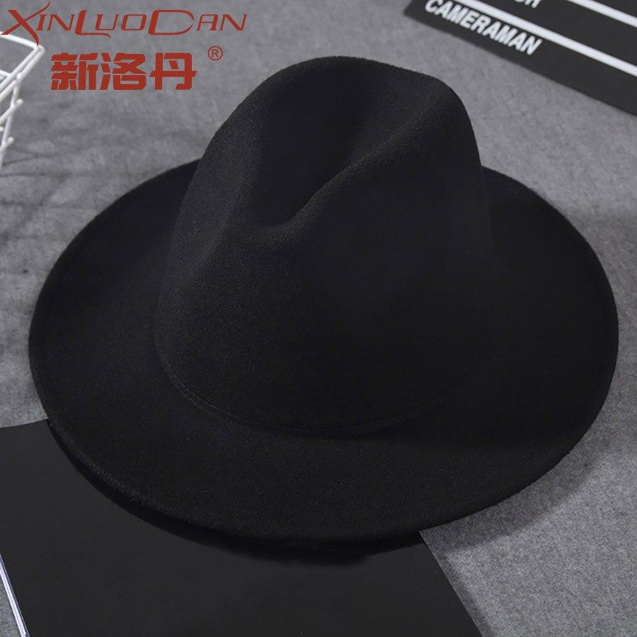 Lana de ala ancha sombrero pura sombrero cúpula sombrero para las mujeres de estilo británico femenino de Jazz de la Iglesia de los hombres Vintage sombrero Fedora