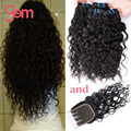 Indian Water Wave Virgin Hair With Closure Natural Wave 4 Bundles With Closure Rosa Hair Products Unprocessed Wet And Wavy Curly